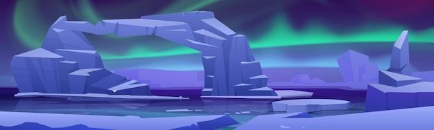 Aurora boreal ártica na paisagem do pólo norte com geleiras no oceano ártico congelado