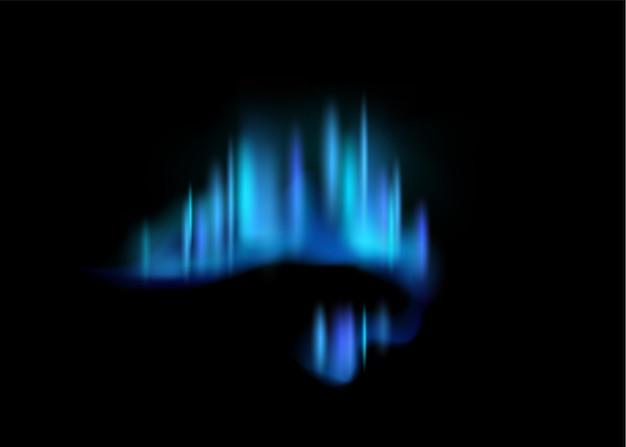 Aurora boreal. aurora boreal realista luzes polares incríveis no céu negro noturno, luminescência mágica efeito ártico vibrante, espaço polar gradiente azul brilho ilustração vetorial abstrato isolado