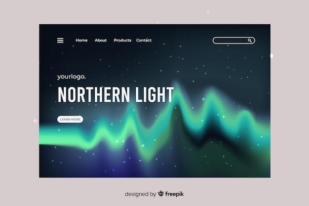 Aurora boreal como página de destino das ondas sonoras