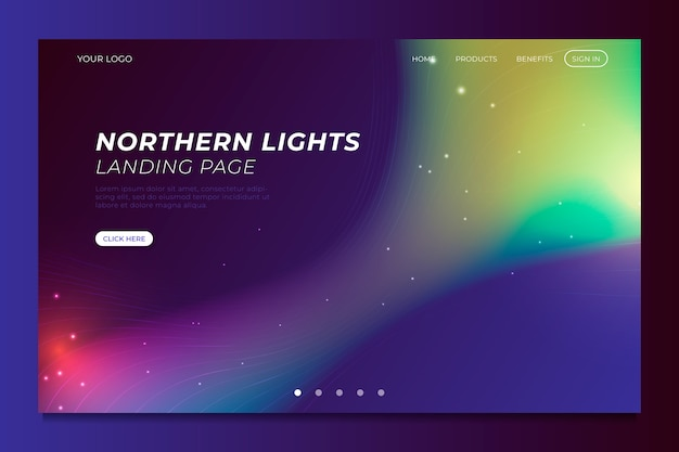 Aurora boreal da página de destino do modelo