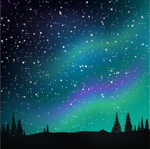 Aurora boreal no céu estrelado e floresta de pinheiros