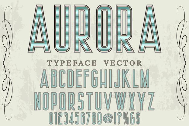 Aurora de design de rótulo de fonte retrô