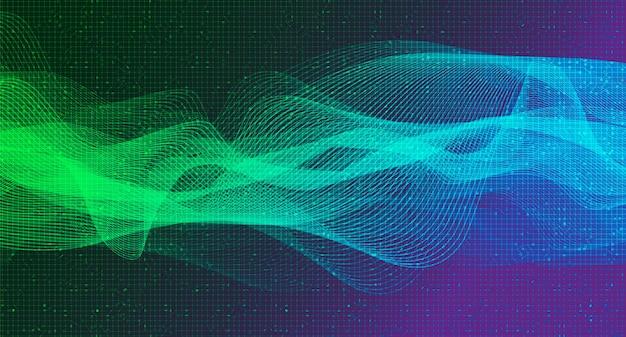 Aurora digital sound wave technology e conceito de onda sísmica, design para estúdio de música e ciência, ilustração. Vetor Premium