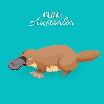 Austrália animal ornitorrinco marrom rastejando de bico de pato isolado no fundo azul. ilustração de animal australiano isolado com enorme bico escuro e inscrição branca no topo da imagem