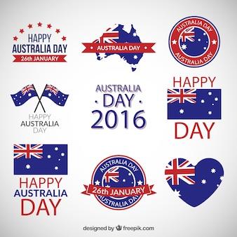 Austrália pacote emblemas dia