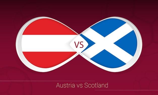 Áustria vs escócia em competição de futebol, ícone do grupo f. versus no fundo do futebol.