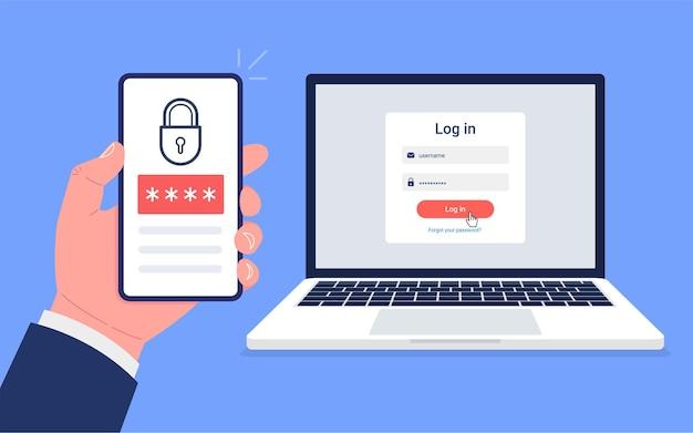 Autenticação em duas etapas. faça login ou login no smartphone e na segurança do computador.