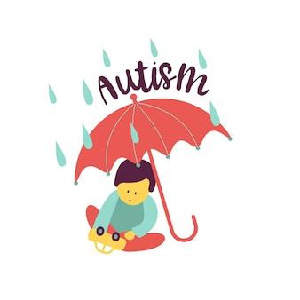 Autismo. os primeiros sinais de síndrome do autismo em crianças. emblema do vetor. ícone de asd do transtorno do espectro do autismo infantil. sinais e sintomas de autismo em uma criança.