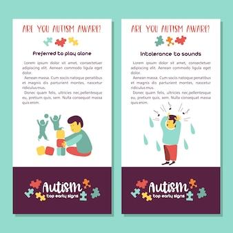 Autismo sinais precoces da síndrome do autismo em crianças transtorno do espectro do autismo em crianças ícones de asd si