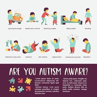 Autismo sinais precoces da síndrome do autismo em crianças transtorno do espectro do autismo infantil ícone asd