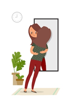 Auto-aceitação, mulher abraçando com seu reflexo no espelho, ilustração do conceito de autocuidado.