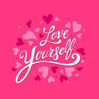 Auto-amor letras conceito de mensagem