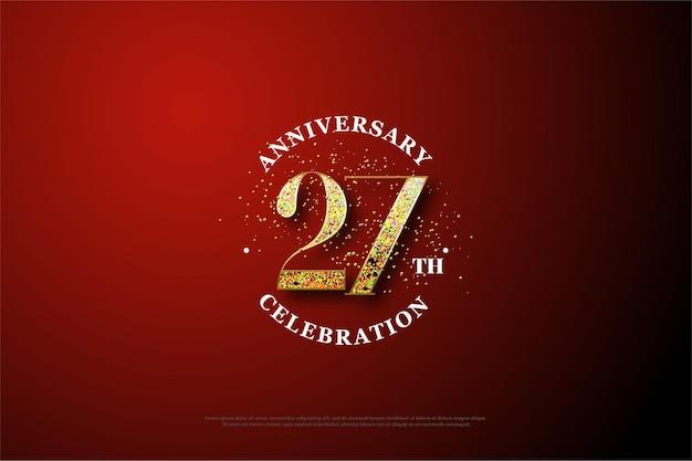 Auto_awesome terjemahkan dari inggris 572 5000 hasil terjemahan fundo do 27º aniversário com ilustração de glitter dourado formando números.
