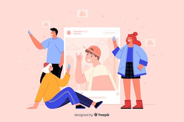 Auto-conceito de foto com pessoas no fundo rosa