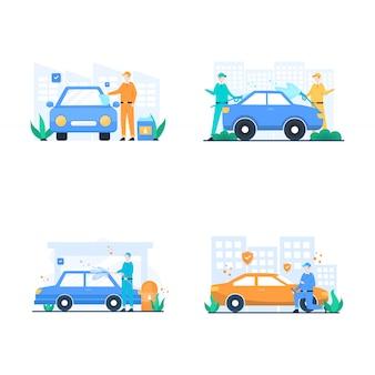 Auto cuidados, pessoas lavando e reparando ilustração de carro,