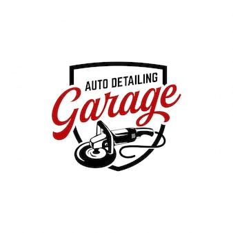 Auto detalhando logotipo polidor carro vintage