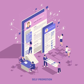 Auto-promoção de marca pessoal habilidades de marketing estratégico construção de rede social presença online ilustração composição isométrica