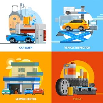 Auto service 2x2 design concept set