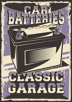 Auto service car battery power peça de reposição service repair parcel parcel poster retro rustic vector