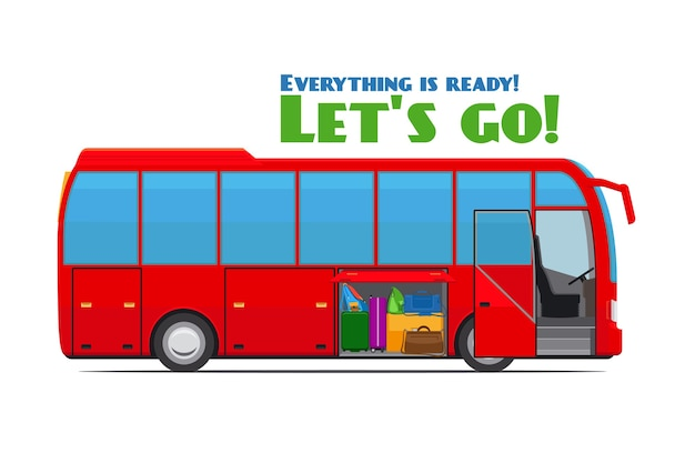 Autocarro turístico vermelho com compartimento de bagagem aberto. ilustração vetorial