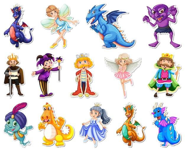 Autocolante com diferentes personagens de desenhos animados de contos de fadas Vetor Premium