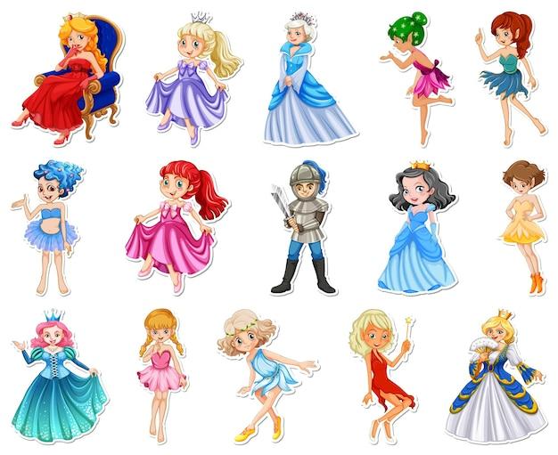 Autocolante com diferentes personagens de desenhos animados de contos de fadas