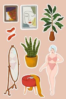Autocolante da rotina diária de uma rapariga de lingerie depois do duche e artigos de casa