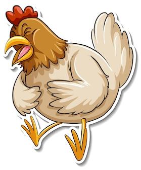 Autocolante de animal fofo com galinha
