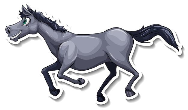 Autocolante de cavalo cinzento a correr em desenho animado