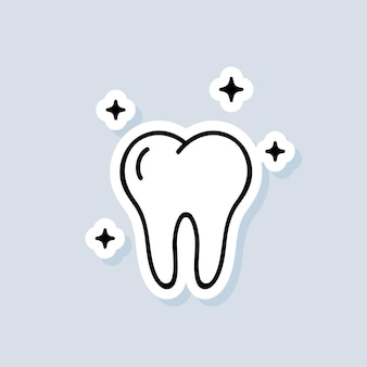 Autocolante de dente. logotipo da clínica dentária. conceito de cuidados de saúde. vetor em fundo isolado. eps 10.