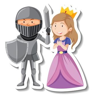 Autocolante de desenho animado de cavaleiro e princesa