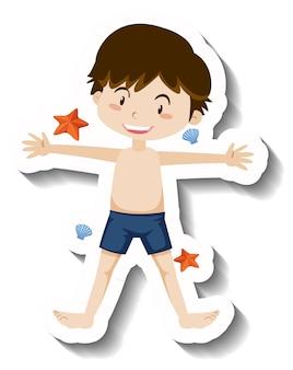 Autocolante de desenho animado de um rapaz a usar um baú de natação