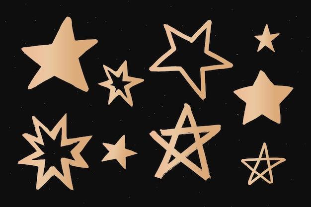Autocolante de doodle do espaço dourado com estrelas brilhantes
