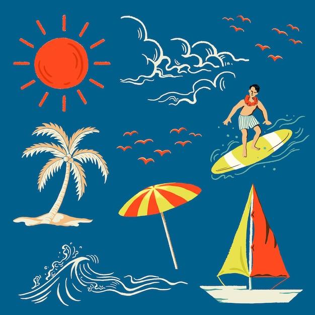 Autocolante de férias no conjunto de praia