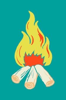 Autocolante de fogueira retro, tema de férias em família