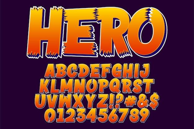 Autocolante de herói - fonte extravagante de desenho animado