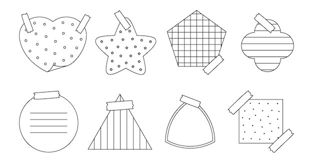 Autocolante de papel de contorno preto com várias formas de bloco de notas de mensagens de lembrete ou autocolante de memorando de organizador com diferentes padrões de grade e pontilhados de cruz linear isolados na ilustração vetorial branca