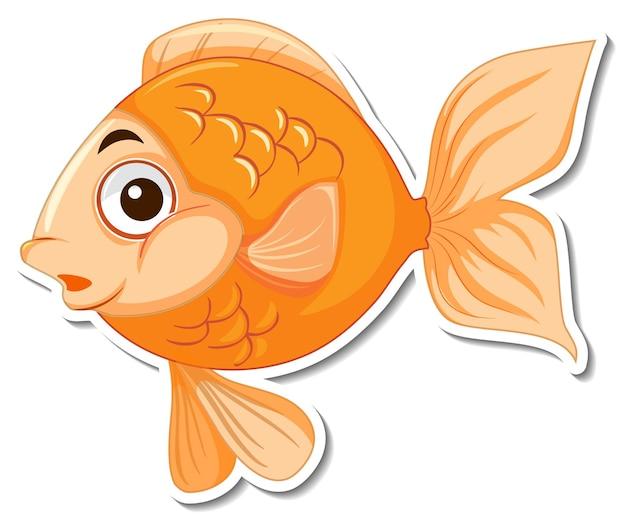 Autocolante de peixe fofo com animal marinho Vetor grátis