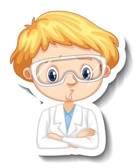 Autocolante de personagem de desenho animado com retrato de menino em vestido de ciências