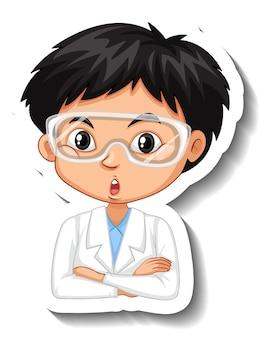 Autocolante de personagem de desenho animado com retrato de menino
