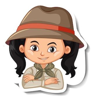Autocolante de personagem de desenho animado com retrato de rapariga com roupa de safari