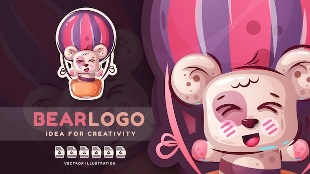 Autocolante de personagem de desenho animado com urso fofo e feliz