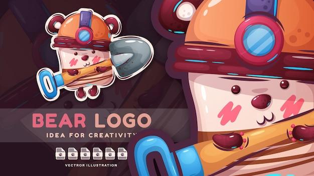 Autocolante de personagem de desenho animado com urso fofo e feliz Vetor Premium