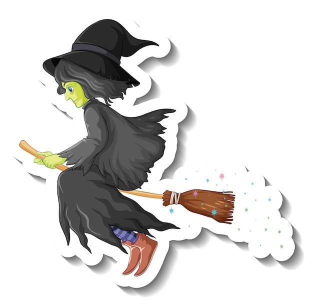 Autocolante de personagem de desenho animado de bruxa velha a andar de vassoura
