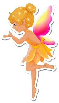 Autocolante de personagem de desenho animado de fada bonita