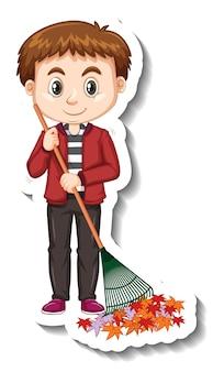 Autocolante de personagem de desenho animado de menino segurando vassoura