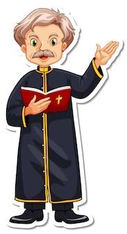 Autocolante de personagem de desenho animado de padre lendo a bíblia