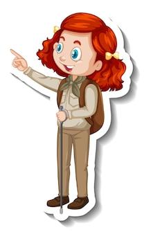 Autocolante de personagem de desenho animado de rapariga com roupa de safari