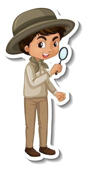 Autocolante de personagem de desenho animado de rapaz com roupa de safari