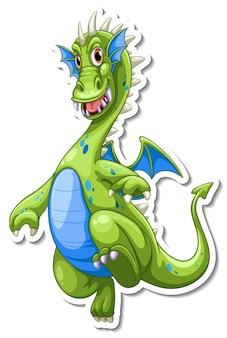 Autocolante de personagem de desenho animado do dragão verde